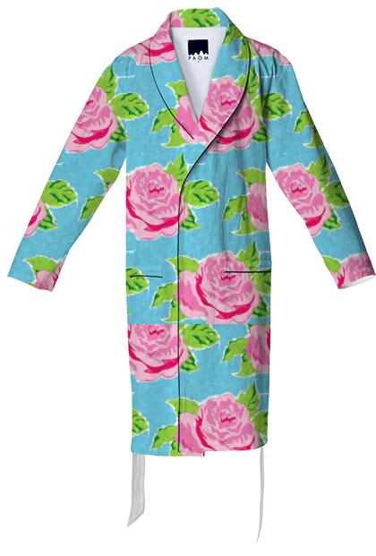 Watercolor Roses Ocean Cotton Robe