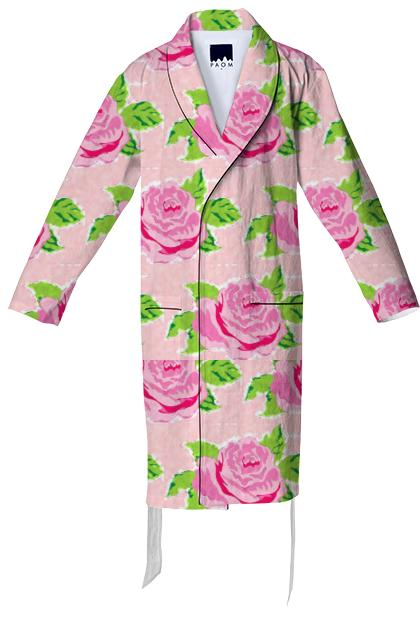 Watercolor Roses Petal Cotton Robe