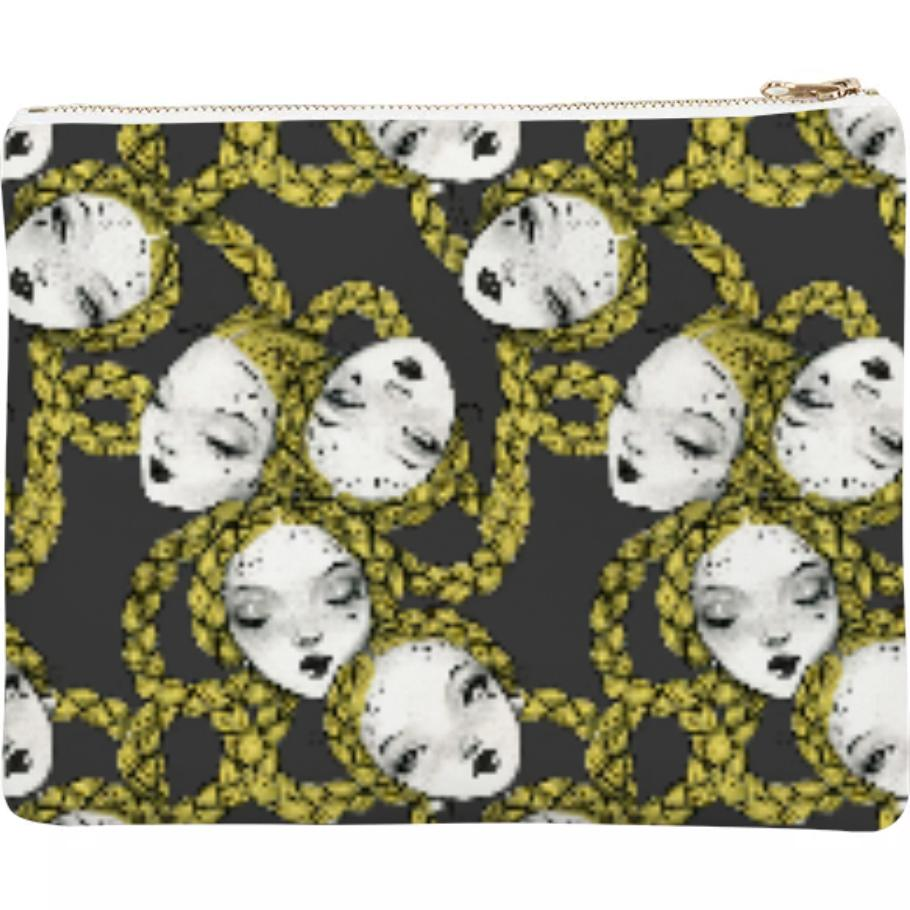 PAOM, Print All Over Me, digital print, design, fashion, style, collaboration, pidgin-doll, pidgin doll, Neoprene Clutch, Neoprene-Clutch, NeopreneClutch, Braid, Chain, Black, autumn winter spring summer, unisex, Neoprene, Bags