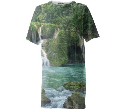 trees and waterfall tall tshirt