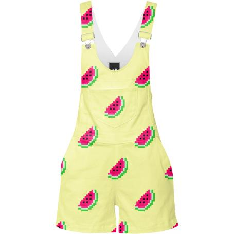 Watermelon Print overalls in buttercup yellow