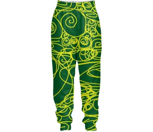 Losel Forest Green Gold Movements Pants