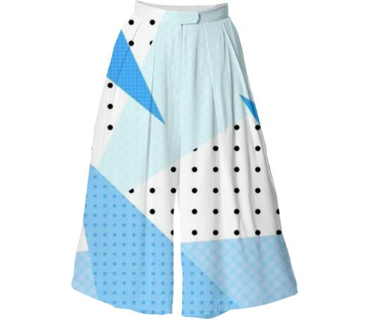 Blue Abstract Culotte
