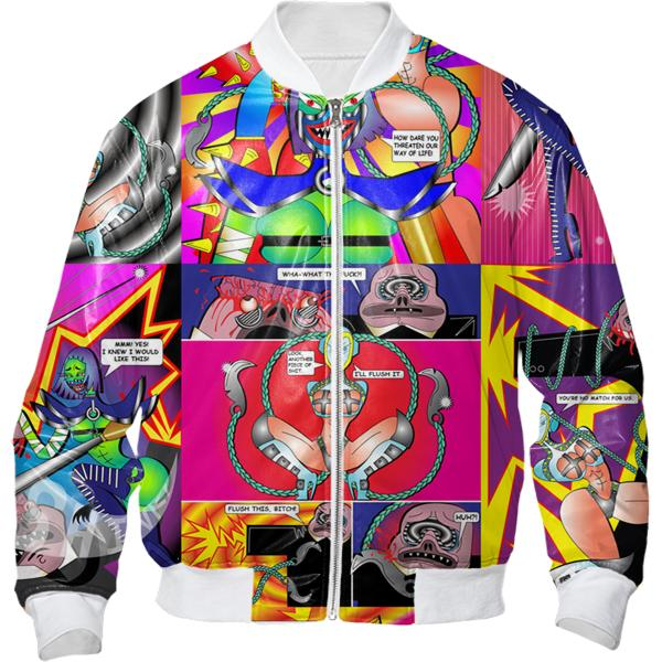 PAOM, Print All Over Me, digital print, design, fashion, style, collaboration, bcalla, Bomber Jacket, Bomber-Jacket, BomberJacket, Full, Comic, autumn winter, unisex, Nylon, Outerwear