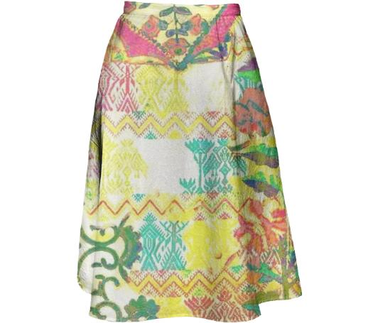 TRACY PORTER CITRON MIDI SKIRT