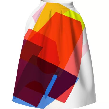 Diagonal Collage Full Neoprene Skirt