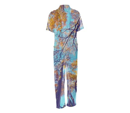 Blue Autumn Mesh Jumpsuit