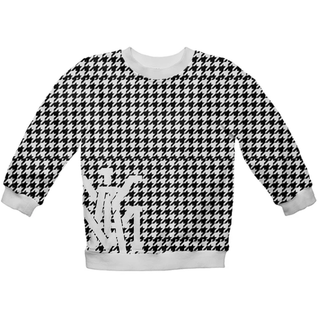 Glitch Houndstooth Plaid Kids Sweatshirt