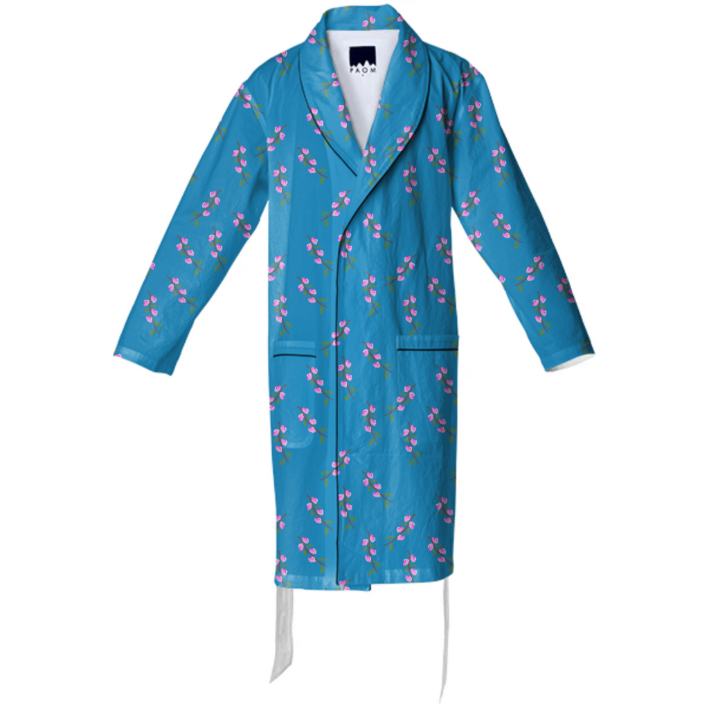 Cherry Blossoms on Blue Cotton Robe