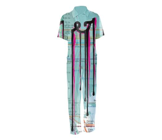 Dripping Subway Map Mesh Jumpsuit