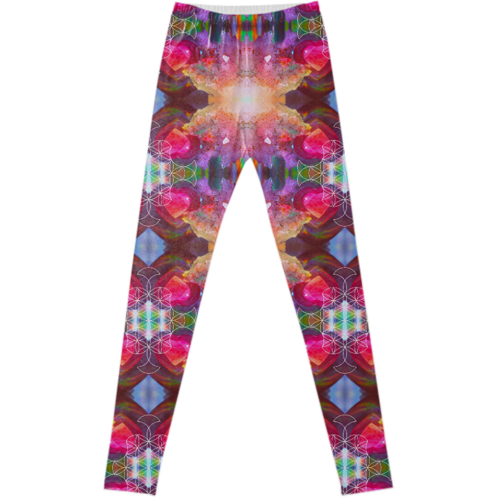 rainbow amethyst and rose quartz crystal rainbow mandala ~ legging  ~ design 02