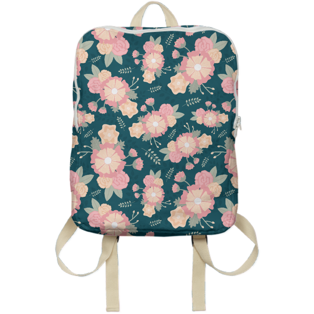 pink and peach floral pattern backpack
