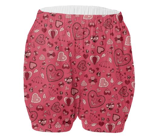 Pink hearts and flowers adult bloomers