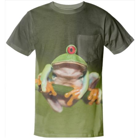 Funny Conceptual Cyclopic Frog Pocket Shirt
