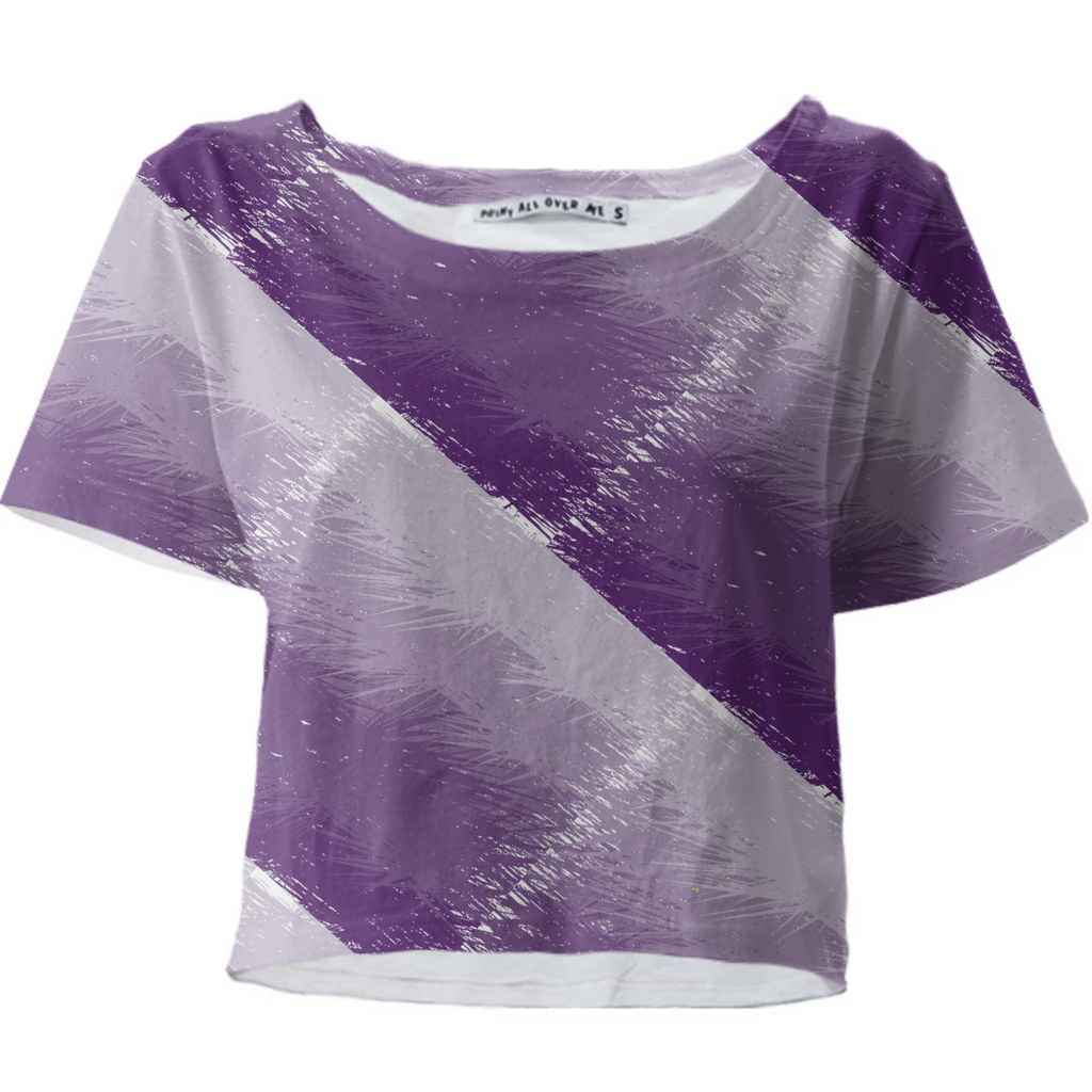 Plum Feathered Cropped T-Shirt