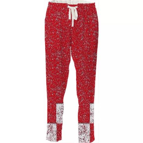 Frost Red Checkered Bottom Pants by LadyT Designs