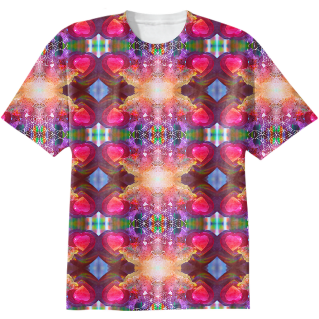 rainbow amethyst and rose quartz crystal rainbow mandala ~ cotton tshirt  ~ design 04