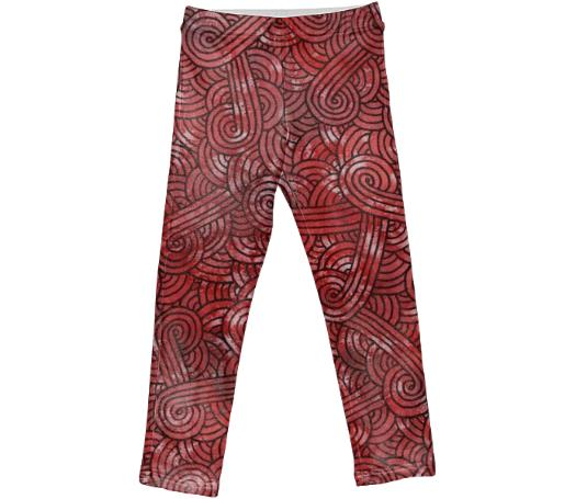 Red and black swirls doodles Kids Leggings