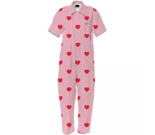 Heart Attack Jumpsuit Repeat Sml Pink