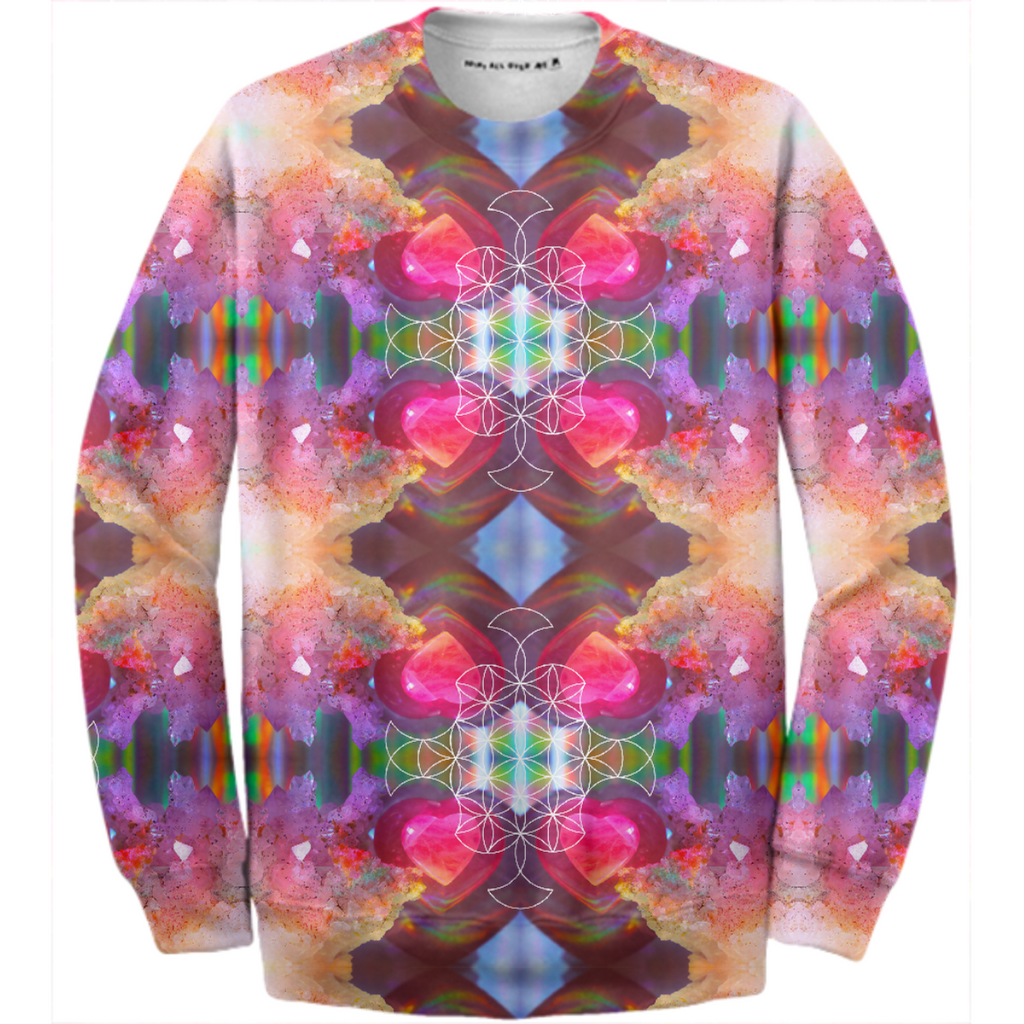 rainbow amethyst and rose quartz crystal rainbow mandala ~ cotton sweatshirt ~ design 01