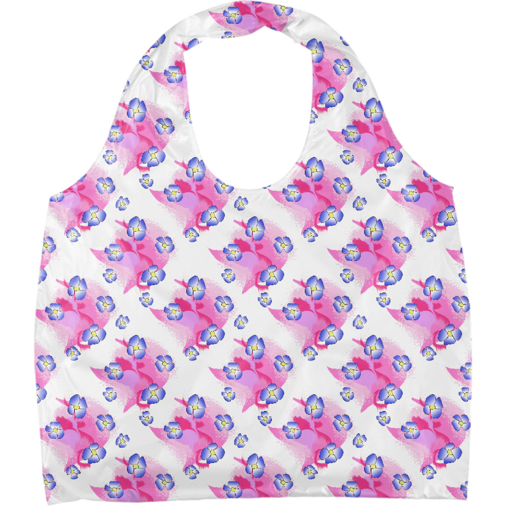 Blue Flowers On Pink Eco Tote