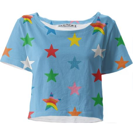 lt blue star cropped tshirt
