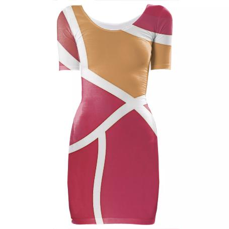 PINK AND WHITE GEOMETRIC MINI BODYCON DRESS