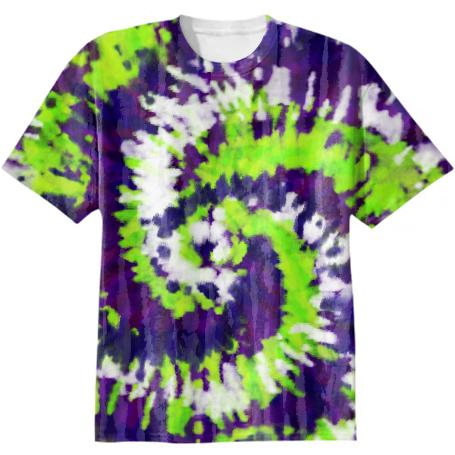 Purple Green White Tie Dye