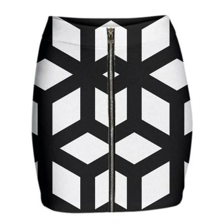 Black and White Geometric Cube Skirt