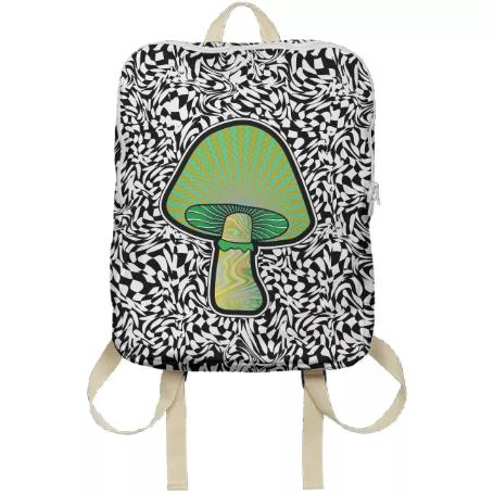 PAOM, Print All Over Me, digital print, design, fashion, style, collaboration, paomcollabs, Backpack, Backpack, Backpack, Green, Shroom, autumn winter spring summer, unisex, Poly, Bags