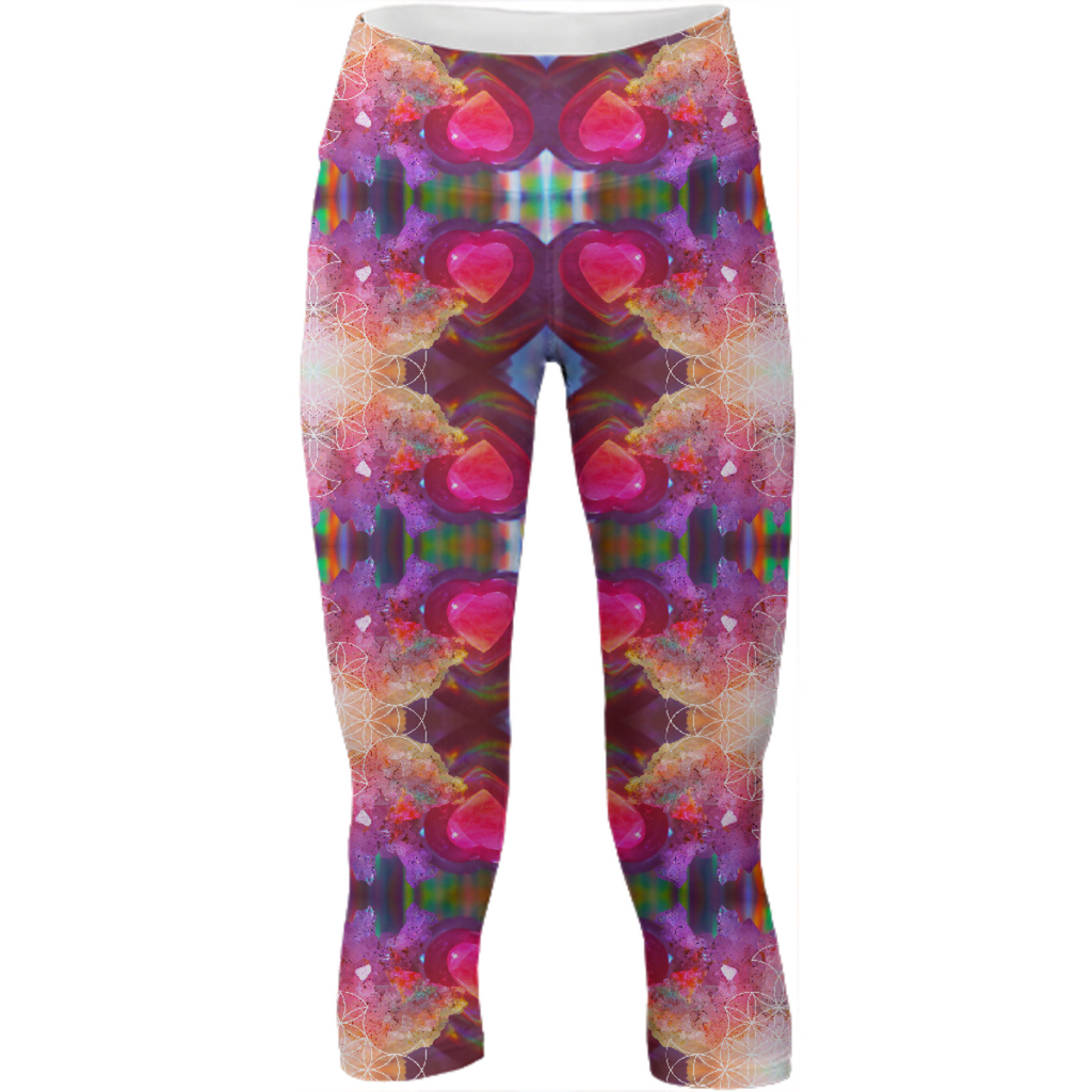 rainbow amethyst and rose quartz crystal rainbow mandala ~ yoga pants  ~ design 03