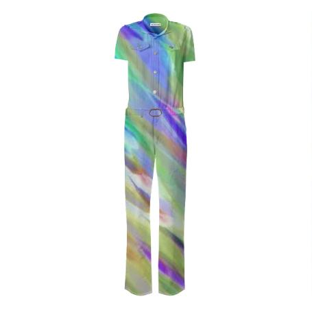 Colorful digital art splashing G401 GABRIEL HELD BELTED JUMPSUIT