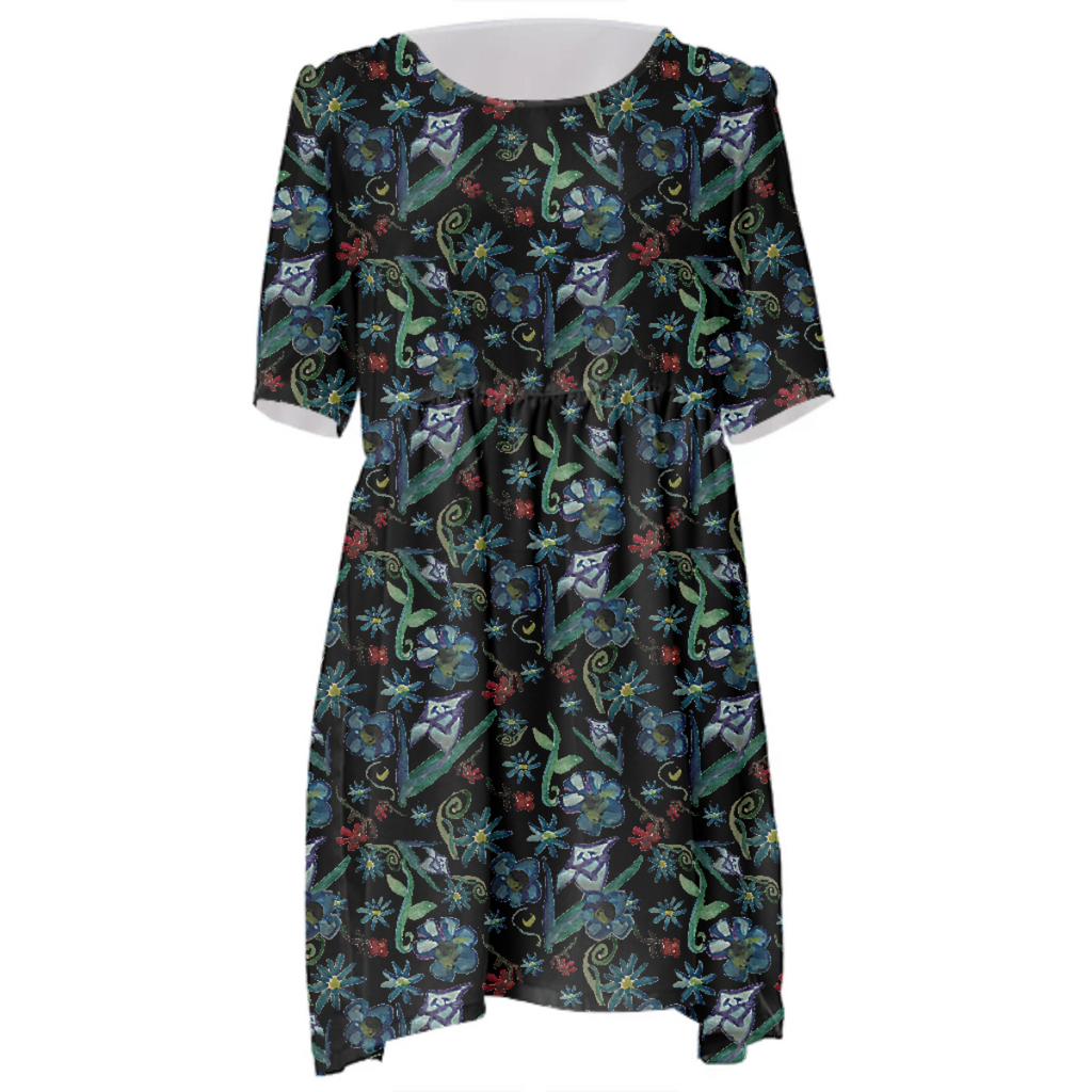 Watercolor Flowers On Black Babydoll Dress