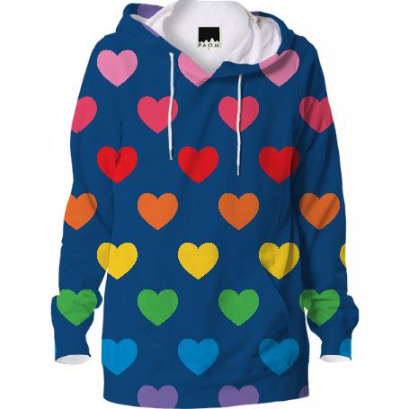 Navy Rainbow Hearts Hooded Sweatshirt