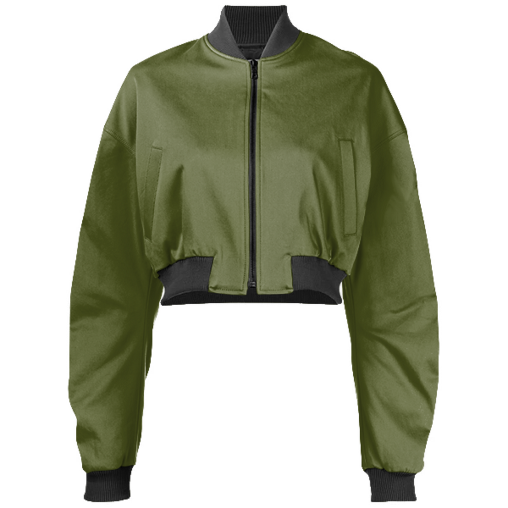 Solid Army Green Color Gabriel Held Cropped Bomber Jacket