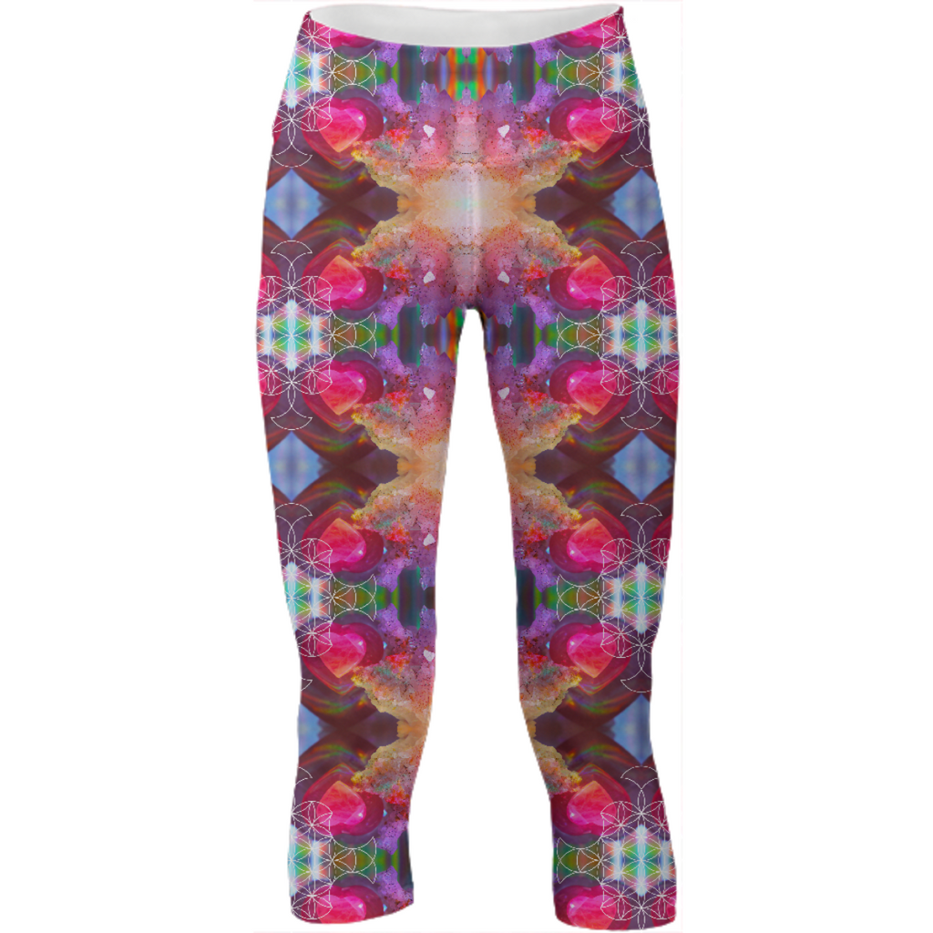 rainbow amethyst and rose quartz crystal rainbow mandala ~ yoga pants  ~ design 02