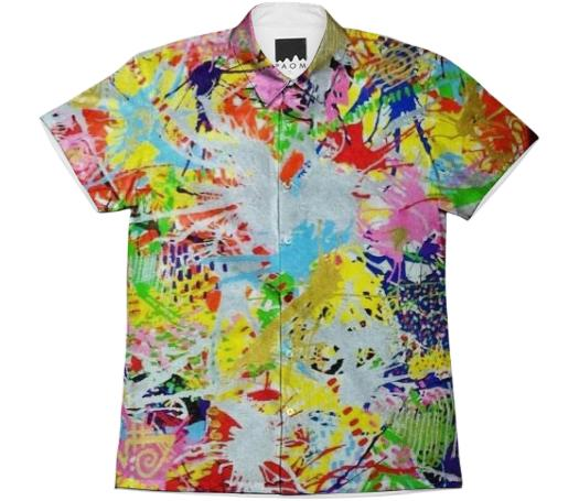 Splatter Swirls SS collared shirt