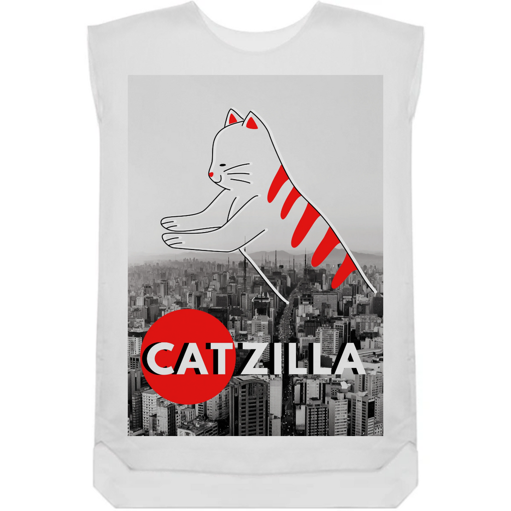 Catzilla Japanese Vintage Sunset Style Cat Kitten Lover T-Shirt Art Board Print