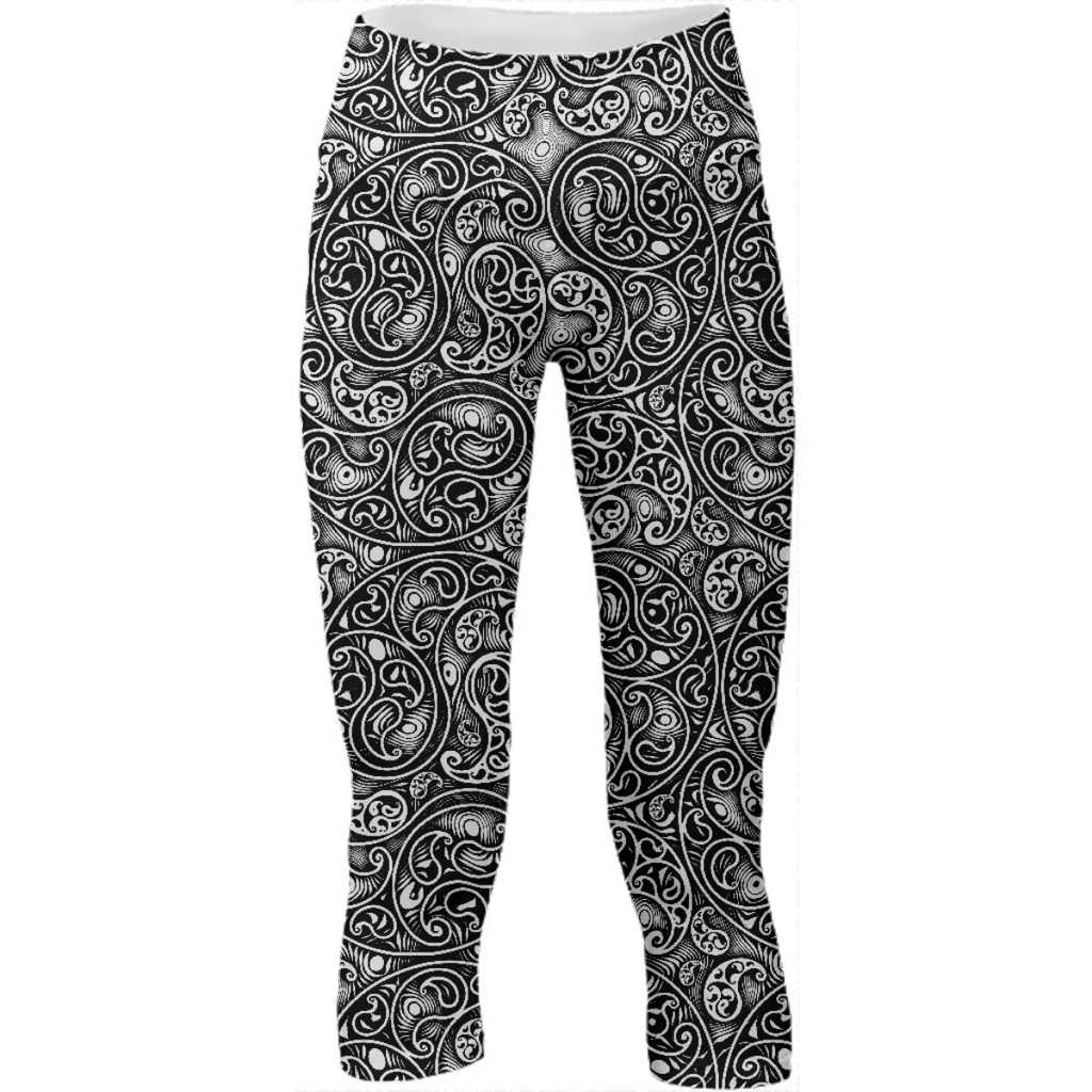 Black and White Paisley Swirls Spirals Pattern