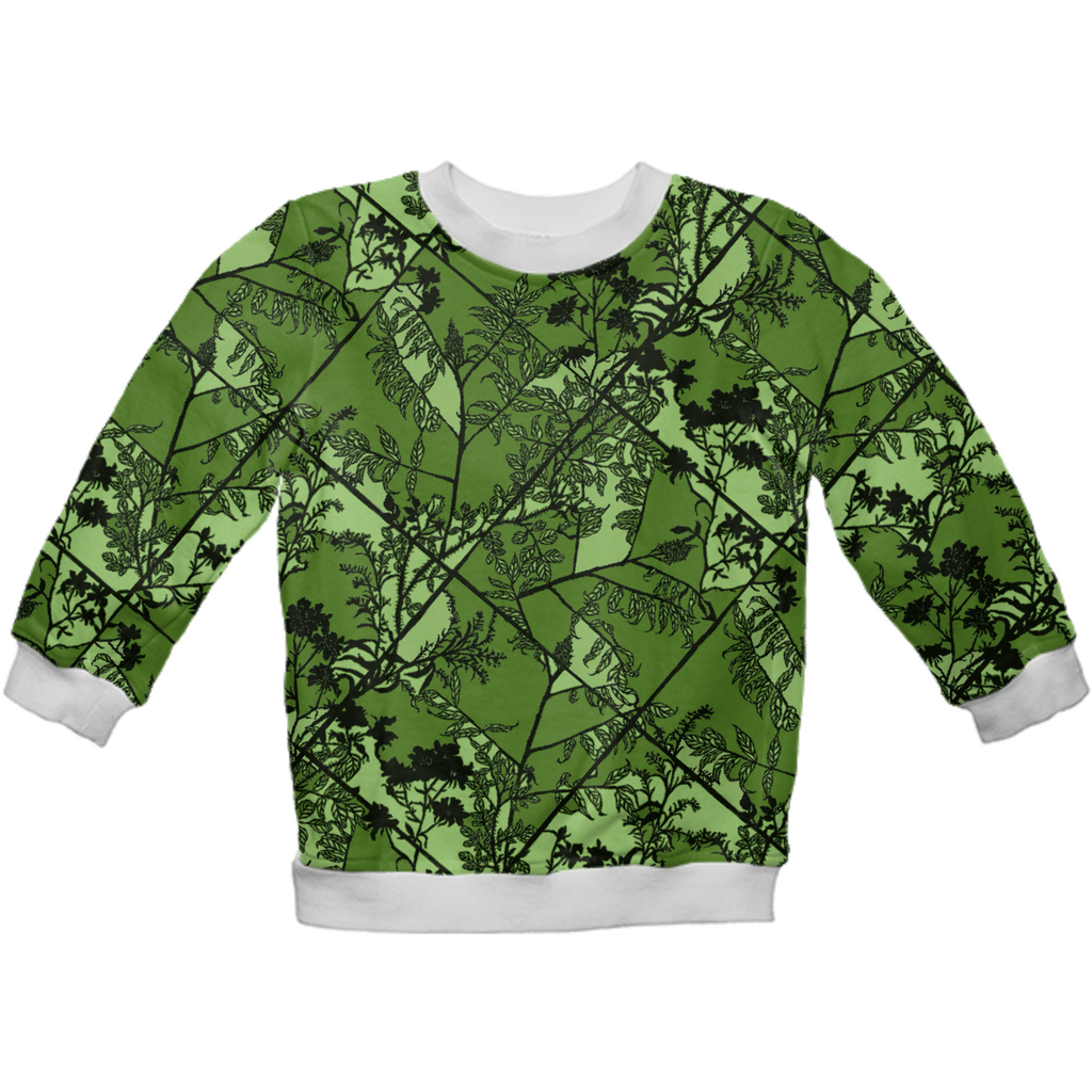 floral quadrant green on green