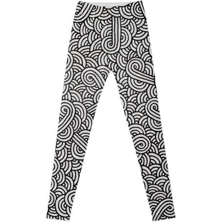 Black and white swirls doodles Fancy Leggings