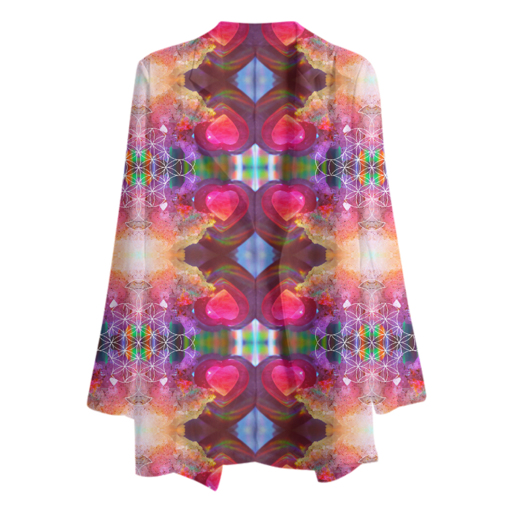 rainbow amethyst and rose quartz crystal rainbow mandala ~ chiffon blazer ~ design 01