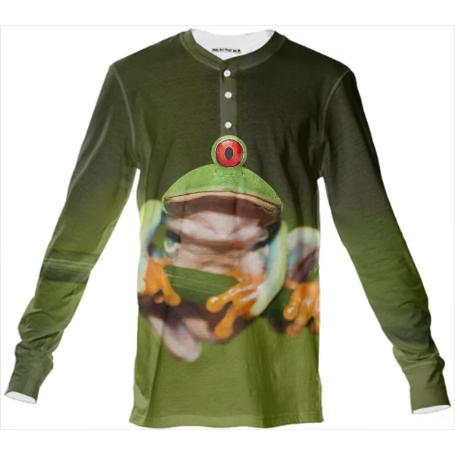 Funny Conceptual Cyclopic Frog Henley Shirt