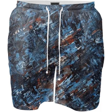Blue Abstract Swim Shorts