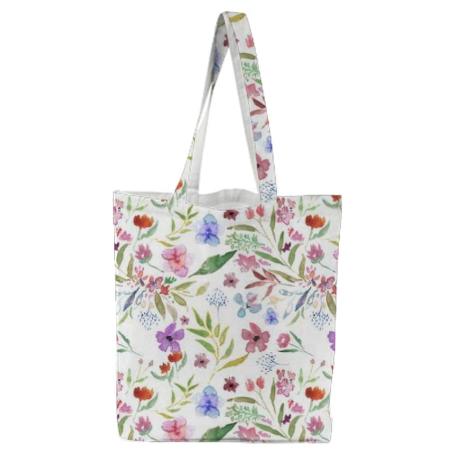 Spring Meadow Tote Bag White