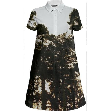 Trees at Dusk Shirt Dress