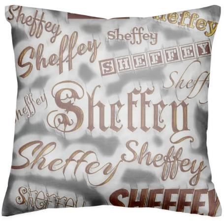 Sheffey Fonts Bronze and Gray 9669 Throw Pillow