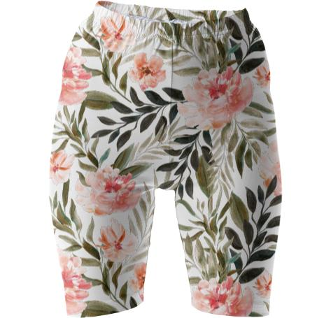 Bike shorts with exotic flowers