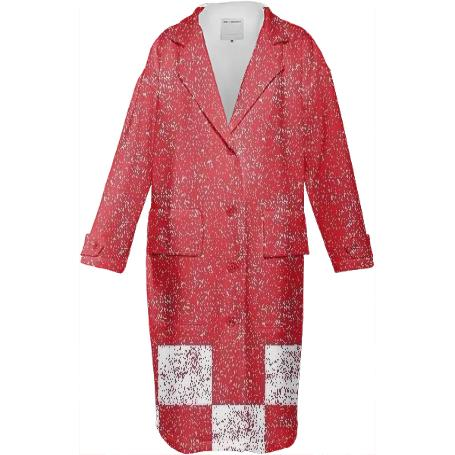 Frost Red Jacket With Checkered Bottom For Women By LadyT Designs
