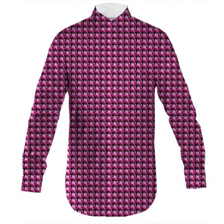 Magenta Flower Men s Button Down